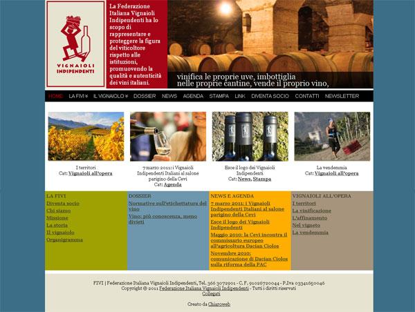 Home page del sito Fivi - Federazione Italiana Vignaioli Indipendenti